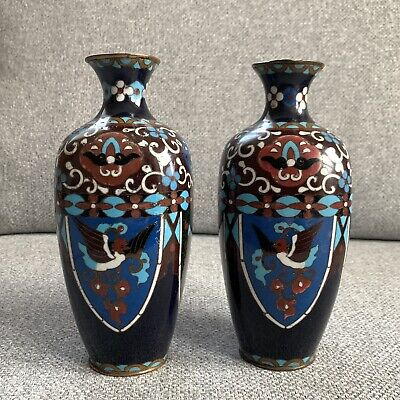 Antique Japanese Cloisonne Vases Pair Dragon Phoenix Meiji C.1890