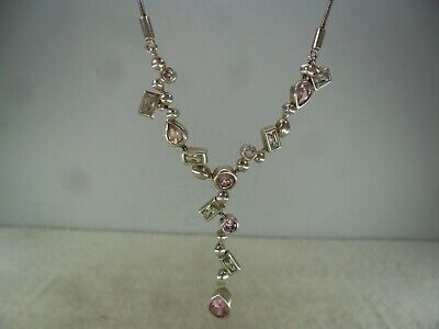 """Quality Sterling Solid Silver Stone Set 16"""" Necklace"""