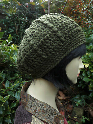 Crochet BERET Olive Green Hat - Quality Merino Wool - Medium - Handmade 2