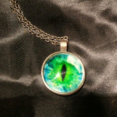 CAT EYE DRAGON BLUE/GREEN EYE Glass Pendant Necklace Steampunk Silver Tone Goth