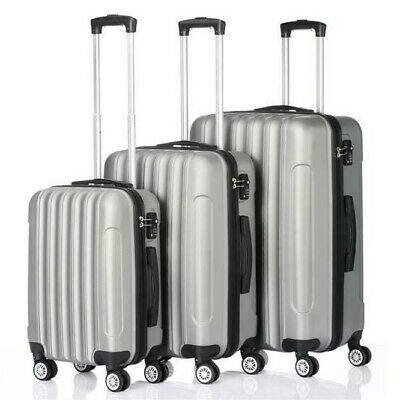 Luggage Set 3 PCS Travel Hardshell Suitcase Lightweight Spinner Trolley Silver