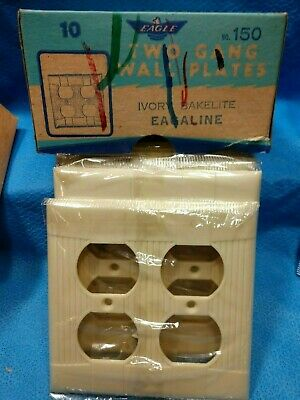 BOX OF 10 Bakelite Tuxedo Outlet Plate Cover Wall Ivory Two Gang Plug Eagle