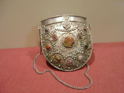 "Art Deco Metal Purse with 21 Cabochon Stones--Purse is 4 3/4"" tall / 4 3/8"" wide"