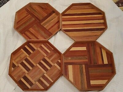 """Set 4 Wood Octagon Vintage MCM Marquetry inlay trays 14"""" x 14"""""""