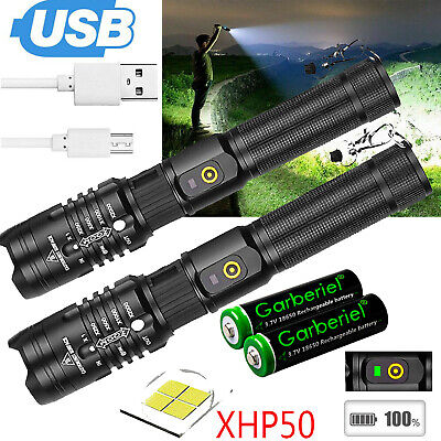 XHP50 Flashlight Zoomable 990000Lumens USB Rechargeable 18650 Torch Super Bright