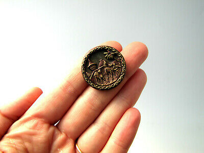 LARGE Antique 1800's Flight of Mohammed to Mecca Tinted Metal Picture Button