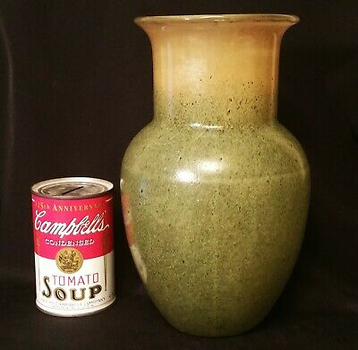"9 1/4"" molded art glass vase vtg johann loetz green bohemian czech sculpture"
