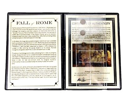 Fall of Rome, Four Coins of the Late Roman Empire Album,Story And Certificate