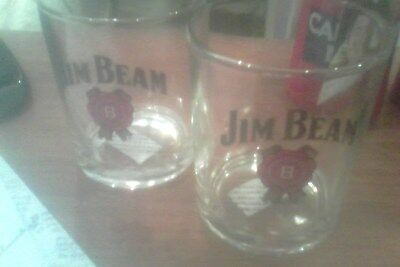 jim beam whiskey glasses (2) pair (no size but approx 200ml)
