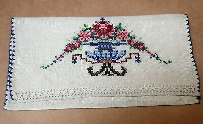 Beautiful Vintage Cross Stitch Handkerchief Holder With Hanky