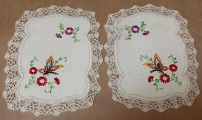 Beautiful Pair Of Vintage Floral Doyleys Doilies Embroidery Crochet Butterflies