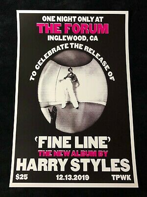 HARRY STYLES 12x18 CONCERT POSTER 2019 THE FORUM LA FINE LINE ONE DIRECTION 7