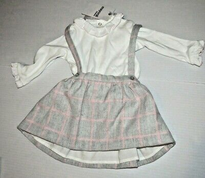 Mayoral Top & Dress Outfit,Grey / Pink Check Age 2-4 Months Bnwt
