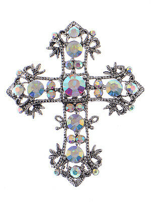 Women's Rhinestone Holy Cross Crucifix Iridescent Crystal Brooch Pin gift