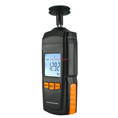 Contact LCD Speed Auto Ranging Tach Motor Small Engine Speed RPM Gauge Meter US