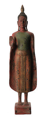 """Antique Khmer Style Wood Standing Protection Monday Buddha Statue - 65cm/26"""""""