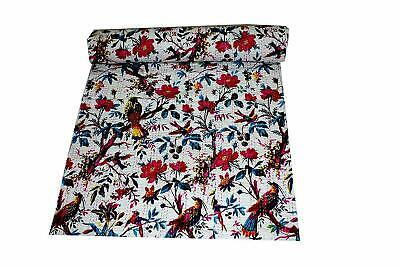 INDIAN WHITE BIRD PRINT KANTHA QUILT Queen SIZE  BEDDING BLANKET BEDSPREAD THROW