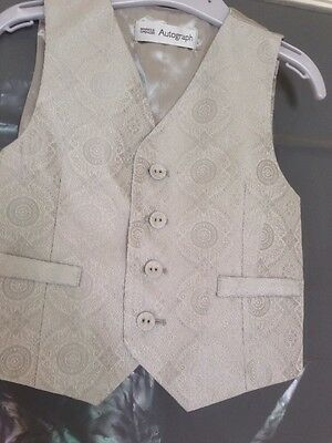 M&S Autograph Boys Silver Grey Brocade Waistcoat 18-24 mths Wedding Christening