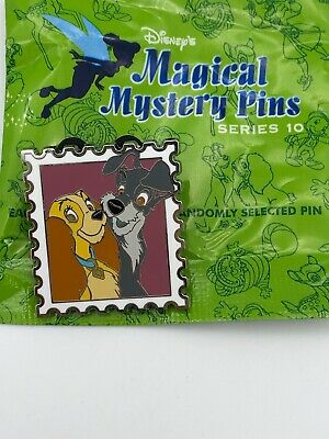 Disney Parks Pin Magical Mystery Green Bag Series 10 Stamp - Lady & The Tramp