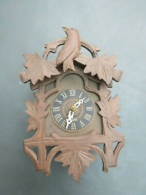 Vintage carved wooden clock case and movement for spares repair or parts
