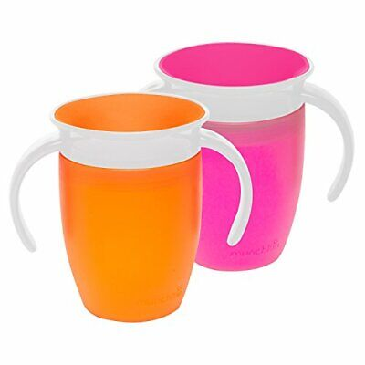 Munchkin Miracle 360 Trainer Cup, 2 Pack, Orange & Pink