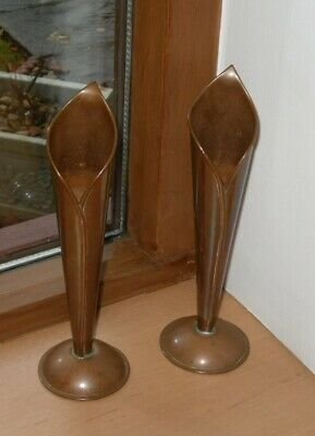 """Pair Of Stylish Arts And Crafts Newlyn Style Copper Bud Vases - 7"""" Tall - VGC"""
