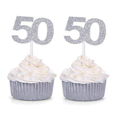 40th Birthday Cupcake Toppers Number 40 Party Pack of 10 Glittery Gold