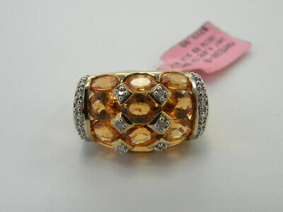 Solid 14kt Yellow Gold Ring Size 8 Spessartite 4.69 tw & Diamond STS 6.12 Grams