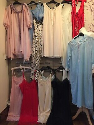 Vintage Nightwear Lingerie Nylon slips pettiecoats Job Lot Nightdress set