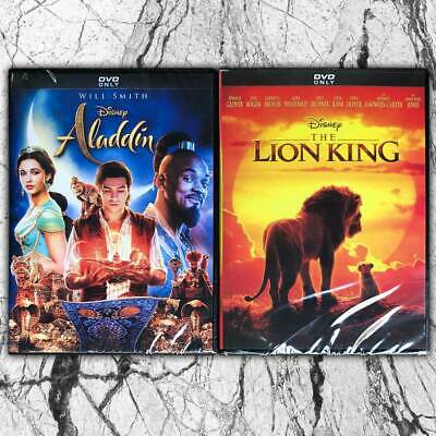 Lion King Live Action 2019 and Aladdin Live Action DVD 2 Movies Fast shipping