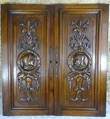 Pair Antique French Solid Walnut Carved Wood Door/Panel  - Knight's Head