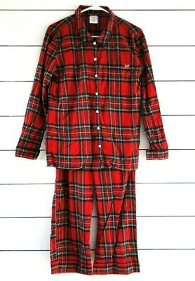 EUC Vineyard Vines JOLLY RED PLAID Woven COTTON Pajama/Lounge Set S Whale Xmas