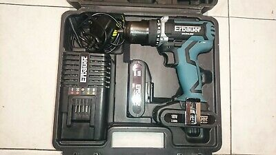 Erbauer 18v li-ion brushless drill screwdriver, 2x 2.0ah batteries and charger