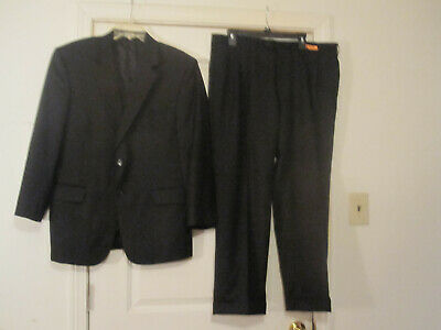 Jos.A.Bank Mens Black Suit 2Button Coat,Pleated Cuffed Pants 100%Wool 40 Short
