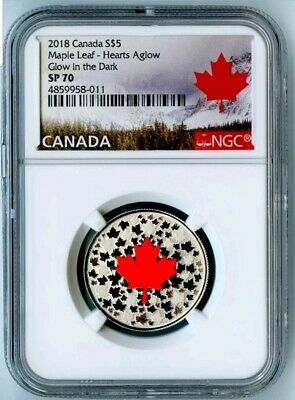 """2018 Canada Ngc Sp70 """"Hearts Aglow"""" Silver Glow In The Dark S$5! Top Pop!"""