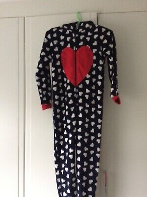Blue & White Heart Reindeer All In One Sleep Suit / Age 10-11/Matalan Christmas