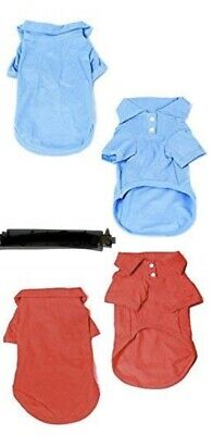 Pack Of 2 BLUE & Red GOLF POLO Shirt Dog clothes NEW! Medium Dog CUTE