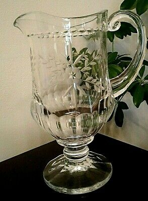 ANTIQUE EARLY 20th Century Heavy crystal Water Pitcher, engraved,applied handle