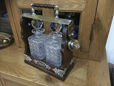 Antique Wooden & Silver Plate Two Decanter Tantalus With Key. Read Listing