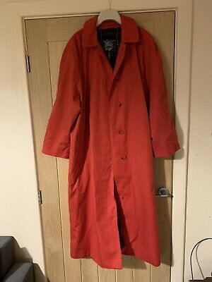 Vintage 1980s 1990s Burberry Red Trenchcoat Size 16/18