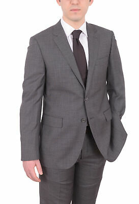 Mens 40R Mens Napoli Slim Fit Gray Pinstriped Half Canvassed Super 180's Wool...