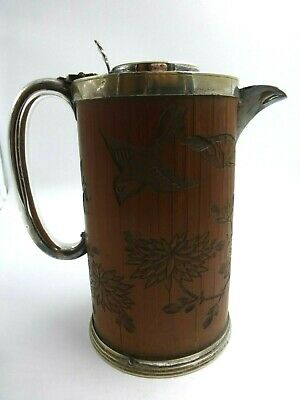 Unusual Silver plated Hot Water Coffee Jug made from oriental Bamboo Brushpot