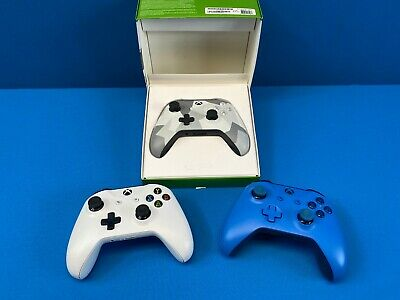 3x Official OEM GENUINE Microsoft Xbox One 1 Wireless Controller White *S* Blue