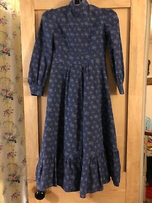 Laura Ashley Vintage 70's Prairie Maxi Party Dress Handsewn Age 11 10 9