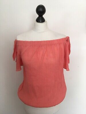 Oasis Off Shoulder Top Womens Ladies Coral Red Strappy Lace Trim Size 14 *REF49