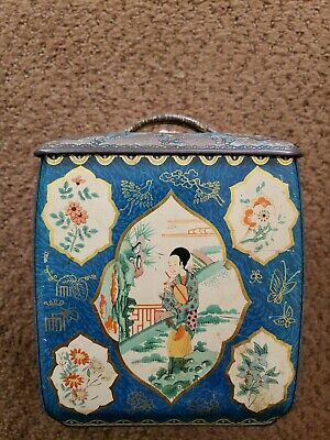 Vintage Japanese Tea Tin Metal Box & lid used condition-scratches, rust, etc.