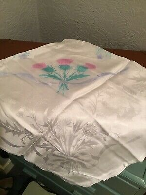 """Lovely Vintage White Damask Tablecloth-Thistle Pattern-47 x 47""""  #4501"""