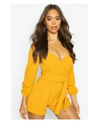 boo hoo mustard off the shoulder playsuit with belt size 12 BNWT