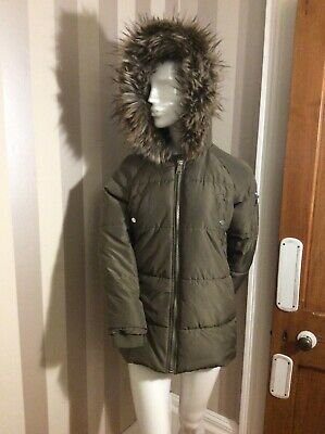 PRIMARK girls khaki green quilted  Parka , ages 11-12 years