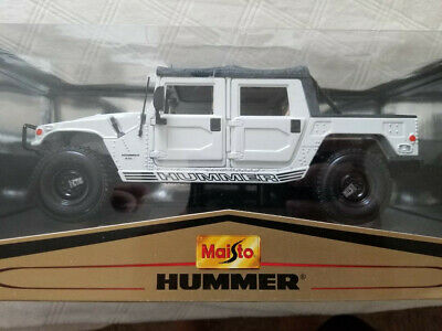 Maisto Hummer H1 Soft Top Military SUV 1:18 Scale Diecast White Metal Model Toy